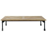 Metalen en houten salontafel op wieltjes B 160 cm Mirabeau