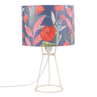Metalen lamp met lampenkap met bloemenprint Florus