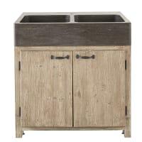 GRETA - Meuble bas de cuisine pour évier 2 portes en pin recyclé grisé