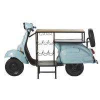 Meuble de bar scooter bleu en métal et manguier Scooter