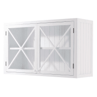 Meuble haut vitré de cuisine en pin blanc L120 Newport