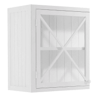 Meuble haut vitré de cuisine ouverture droite en pin blanc L60 Newport
