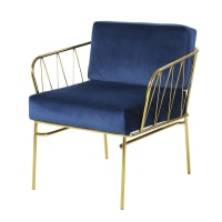 Midnight Blue Velvet and Gold Metal Armchair Aretha