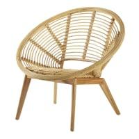 NUSA - Mindi vintage armchair in rattan and wood