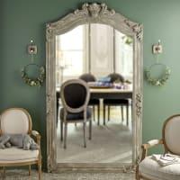 Miroir à moulures en manguier gris 123x220 Anvers