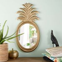 Miroir ananas en métal doré 43x85 Manille