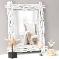 Miroir blanc en rotin H 115 cm Fjord