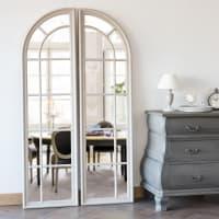 Miroir effet vieilli en 2 parties en paulownia 100x180 Lazare