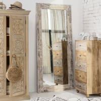 Miroir en bois recyclé blanchi 94x207 Oman