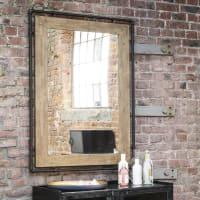 Miroir en hévéa et métal noir 80x120 Wayne