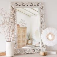 Miroir en manguier sculpté blanc 60x90 Lombok