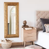 Miroir en métal à motifs graphiques dorés 50x120 Leila