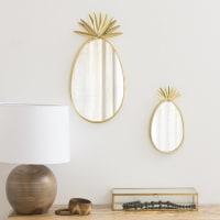 Miroir en métal doré mat 20x40 Ananas