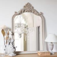 Miroir en paulownia à moulures beige 60x90 Fioretta