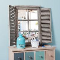 Miroir en sapin avec volets rabattables 71x48 Constance