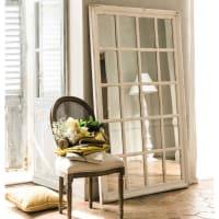 Miroir fenêtre en bois blanc H 175 cm St Martin