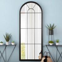 Miroir fenêtre en métal noir 72x184 Botanique