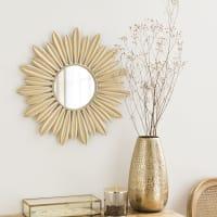 Miroir fleur en métal doré D50 Pluma