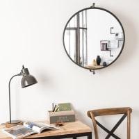 Miroir orientable en métal noir 69x60 Bradford