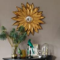 Miroir rond convexe feuilles de métal doré D86 Monika