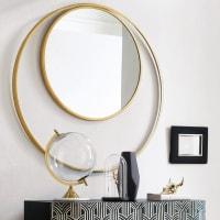 Miroir rond double encadrement en métal doré D90 Mirada