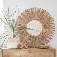 Miroir rond en bois flotté D100 Nirvana