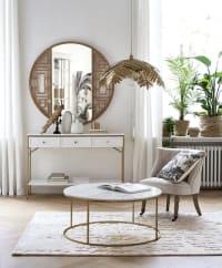 SHAN - Miroir rond en chêne sculpté D110
