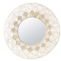 Miroir rond en macramé blanc D92 Verkala