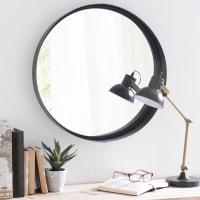 Miroir rond en métal noir D60 Clifford
