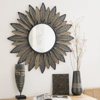 Miroir rond feuilles en métal D81 Miniya