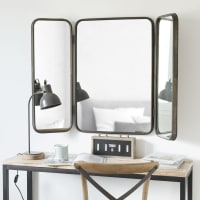 Miroir triptyque en métal noir 114x81 Taylor