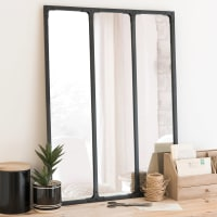 Miroir triptyque en métal noir 60x80 Bagel