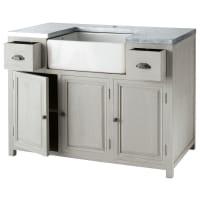 ZINC - Mobile basso da cucina grigio in acacia con lavello L 120 cm