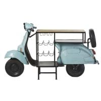 Mobile da bar scooter blu in metallo e legno di mango Scooter