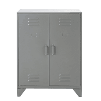 Mobiletto contenitore industriale a 2 scaffali in metallo grigio Sunset