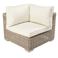 Modular corner unit of garden sofa in beige resin wicker with ecru cushions Sardaigne