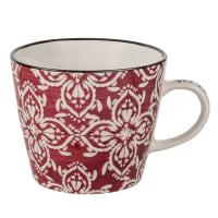 Mok van aardewerk met rood bloemmotief Esmeralda