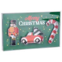 Lote de 2 - Molde de corte de Natal com forma de carro, quebra-nozes e bengala doce em metal prateado