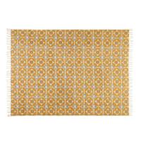 Mosterdgeel katoenen tapijt 140x200cm Blocalia