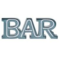 Mot déco lumineuse en métal bleu 47x17 Bar
