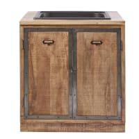 MELCHIOR - Móvel inferior de cozinha com lava-loiça com 2 portas de madeira de mangueira