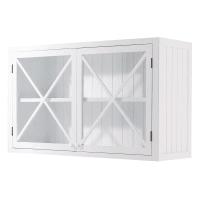 Móvel superior de cozinha branco de madeira com portas de vidro largura 120 Newport