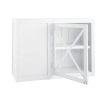 Mueble alto de cocina esquinero blanco de madera y acristalado An. 97 cm Newport