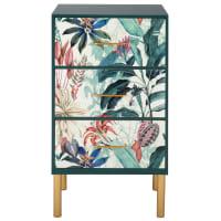 SWAN - Mueble con 3 cajones, estampado vegetal exótico multicolor y metal dorado