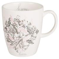 Mug en faïence imprimé floral noir et rose