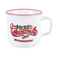 DECEMBER - Lot de 2 - Mug en grès blanc inscriptions rouges et vertes