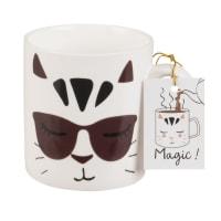Mug en porcelaine imprimé chat Magicat