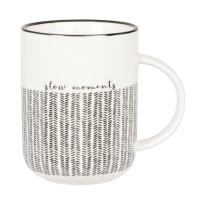 IDA - Lotto di 2 - Mug in gres bianco e nero con motivi