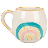 Lotto di 2 - Mug in gres color sabbia con stampa arcobaleno multicolore