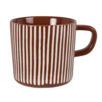 SYBILLE - Lotto di 2 - Mug in gres marrone con motivi grafici bianchi